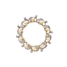 Edwardian Natural Pearl Old Mine Cut Diamonds Platinum 18K Gold Circle Pin