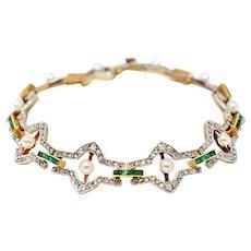 Belle Époque Natural Pearl Emerald Rose Cut Diamonds Platinum 18K Bracelet
