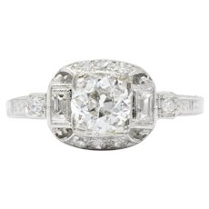 .95 Carat Lovely Art Deco Diamond Platinum Engagement Ring