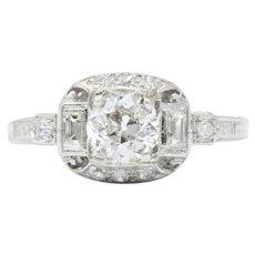 0.95 Carat Lovely Art Deco Diamond Platinum Engagement Ring