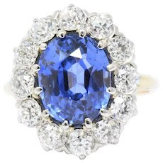 Vintage 8.80 CTW Ceylon No Heat Sapphire Diamond Platinum Alternate Ring AGL Certified