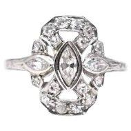 Graceful Art Deco Diamond 14k White Gold Cocktail Ring
