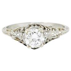 Edwardian 0.73 CTW Diamond 18 Karat White Gold Floral Engagement Ring GIA