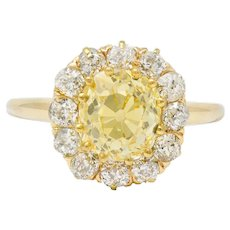 Victorian 2.59 CTW Fancy Yellow Diamond 14 Karat Gold Cluster Engagement Ring GIA