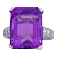Modern 11.00 CTW Amethyst Diamond Platinum Cocktail Ring