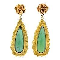 Retro 4.00 CTW Tourmaline 14 Karat Gold Drop Earrings