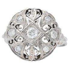 Art Deco 0.40 CTW Diamond Platinum 14 Karat White Gold Ring