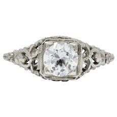 Romantic Edwardian 0.73 CTS Diamond 14 Karat White Gold Engagement Ring GIA