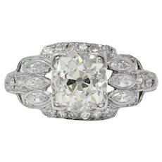 William B. Ogush Inc. Retro 2.05 CTW Diamond Platinum Engagement Ring