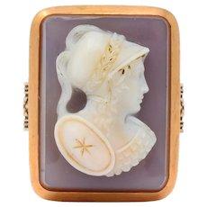 Victorian Hardstone 14 Karat Rose Gold Athena Cameo Ring