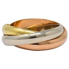 Les Must De Cartier Vintage 18 Karat Gold Unisex Trinity Band Ring