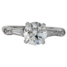 Retro 1.47 CTW Diamond Platinum Engagement Ring GIA