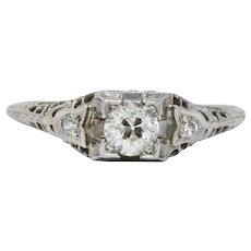 Edwardian 0.47 CTW Diamond 18 Karat White Gold Engagement Ring