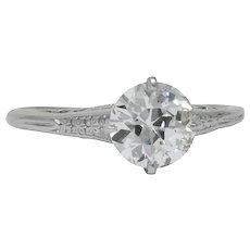 Edwardian 1.23 CTW Diamond Platinum Solitaire Engagement Ring GIA
