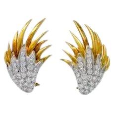 Modern 1.40 CTW Diamond 18 Karat Yellow White Gold Wing Earrings