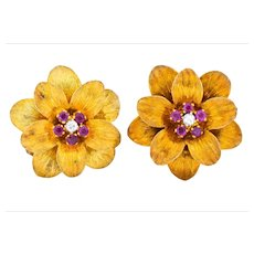 Retro Tiffany & Co. Italy 0.50 CTW Ruby Diamond 18 Karat Gold Flower Ear-Clips