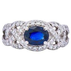 Contemporary 2.07 CTW Sapphire Diamond Platinum Anniversary Ring