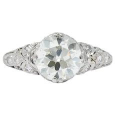Edwardian 2.13 CTW Old European Diamond Platinum Engagement Ring GIA