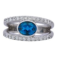 Contemporary 2.14 CTW Blue Topaz 14 Karat White Gold Fashion Ring