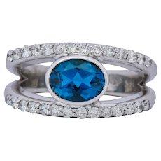 Contemporary 2.14 CTW Blue Topaz 14 Karat White Gold Fashion Ring