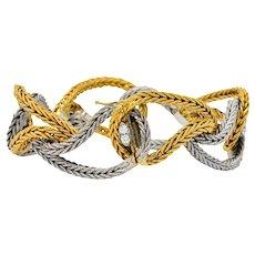 0.88 CTW Diamond 18 Karat Two-Tone Gold Woven Bracelet