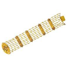 Antique Victorian 14 Karat Tri-Color Gold Multi-Strand Bracelet
