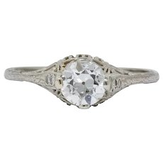 Edwardian 0.88 CTW Diamond 14 Karat White Gold Engagement Ring GIA