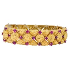 Tiffany & Co. Retro 3.60 CTW Ruby 18 Karat Gold Bracelet