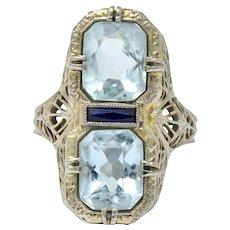 Edwardian 3.87 CTW Aquamarine Sapphire 14 Karat White Gold Ring