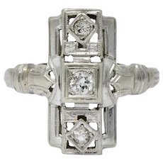 Art Deco Diamond 14 Karat White Gold Dinner Cocktail Ring