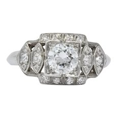 Late Art Deco 0.72 CTW Diamond Platinum Engagement Ring