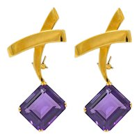 1983 Paloma Picasso Tiffany & Co. 32.00 CTW Amethyst 18 Karat Gold Convertible X Earrings