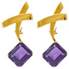 Paloma Picasso Tiffany & Co. 1983 32.00 CTW Amethyst 18 Karat Gold Convertible X Earrings