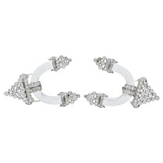 Art Deco 10.00 CTW Diamond Rock Crystal Platinum White Gold Clip Brooches