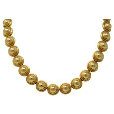 Paloma Picasso Tiffany & Co. Vintage 18 Karat Gold Semi Sphere Domed Link Necklace