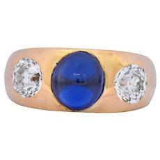 Bailey Banks & Biddle 3.40 CTW No Heat Sapphire Diamond 18 Karat Gypsy Ring GIA