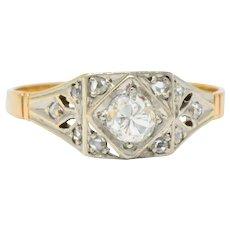 Edwardian 0.50 CTW Diamond Platinum 14 Karat Gold Antique Engagement Ring