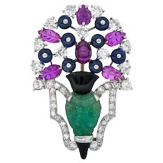 Art Deco 1.70 CTW Diamond Emerald Ruby Sapphire Onyx Platinum White Gold Brooch
