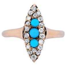 Antique Victorian 0.30 CTW Diamond Turquoise 14 Karat Gold Navette Ring