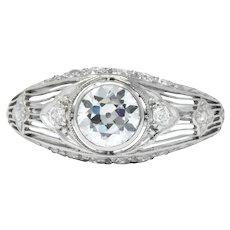 Art Deco 1.30 CTW Old European Cut Diamond Platinum Engagement Ring