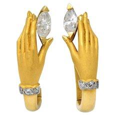 Carrera y Carrera 0.45 CTW Diamond 18 Karat Gold Las Manos Earrings