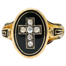 Victorian Diamond Cross 14 Karat Gold Enamel Mourning Ring