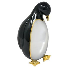 Tiffany & Co. 1970's Black Jade Mother-Of-Pearl 18 Karat Gold Penguin Brooch