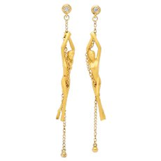 Carrera y Carrera Diamond 18 Karat Gold Chain Women Drop Earrings