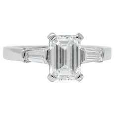 Bulgari 1.48 CTW Emerald Cut Diamond Platinum Engagement Ring GIA