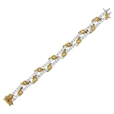 Tiffany & Co. Vintage 14.00 CTW Diamond 18 Karat Gold Platinum Bracelet