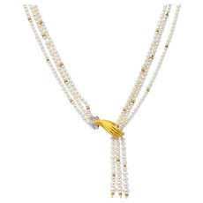 Carrera y Carrera 0.30 CTW Diamond Pearl 18 Karat Gold Las Manos Multi-Strand Necklace