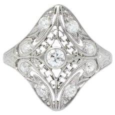 Art Deco 0.43 CTW Diamond Platinum Dinner Ring