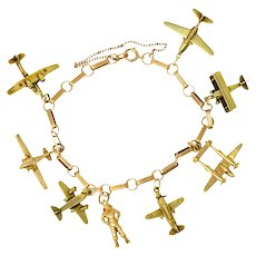 Art Deco 14 Karat Gold Two-Tone Airplane Charm Bracelet