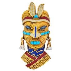 Boucheron Retro Enamel Turquoise Sapphire Seed Pearl 18 Karat Gold Tribal Mask Brooch